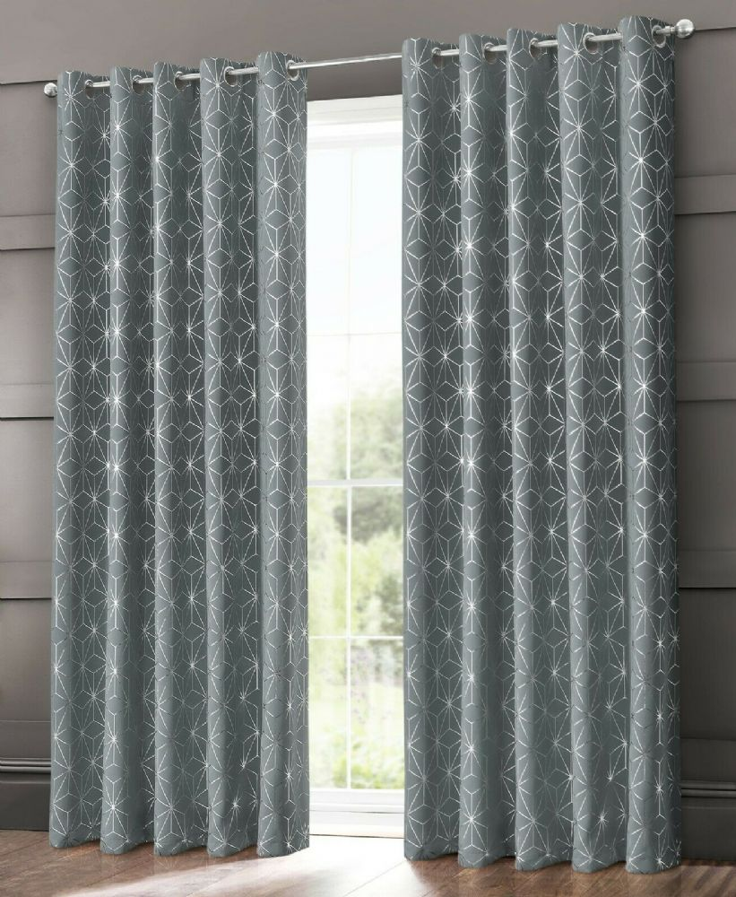 GEOMETRIC STAR METALLIC LIVINGROOM BEDROOM THERMAL BLACKOUT RING TOP EYELET CURTAINS GREY